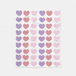Colored Hearts Fleece Blanket