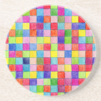 Colored In Graph Paper Squares Beverage Coaster