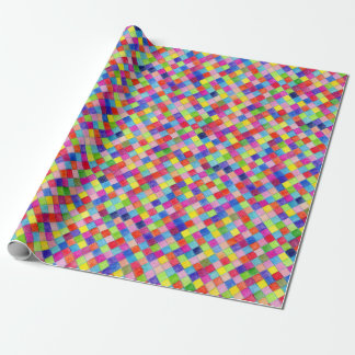 Colored In Graph Paper Squares - Diagonal Wrapping Paper