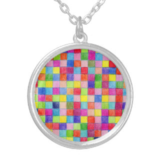 Colored In Graph Paper Squares Round Pendant Necklace