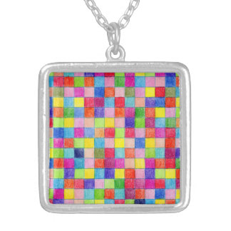 Colored In Graph Paper Squares Silver Plated Necklace