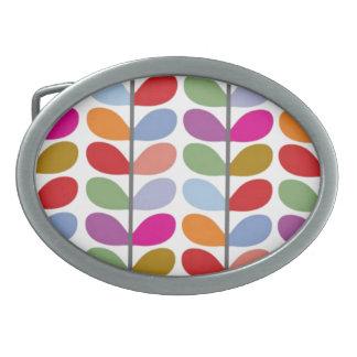 Colored Leaf Art Oval Belt Buckles