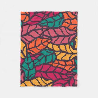 Colored leaves fleece blanket