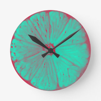 Colored Lemons Round Clock