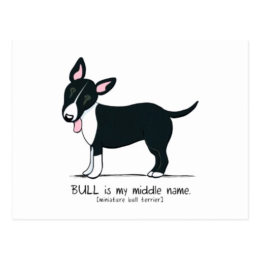 Colored Miniature Bull Terrier Middle Name Postcards