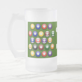 Colored Numbered Pool Balls on a Beer Glass Coffee Mugs