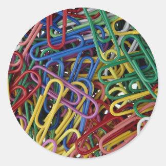 Colored paper clips round sticker