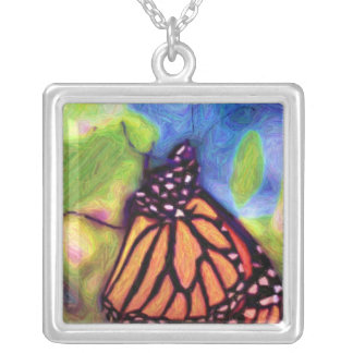 Colored Pencil Monarch Butterfly Necklace
