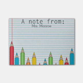 Colored Pencil Personalized Teacher Post It Note