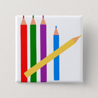 Colored Pencils 15 Cm Square Badge