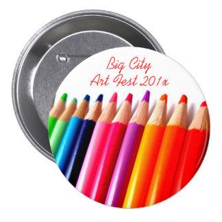 Colored Pencils 7.5 Cm Round Badge