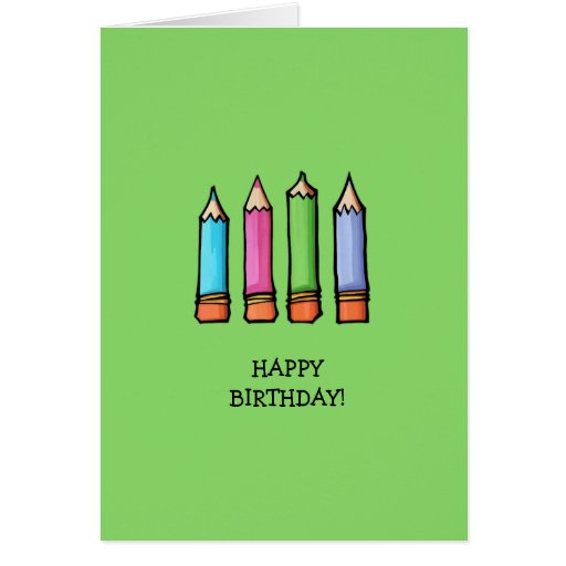 Colored Pencils green Birthday Card