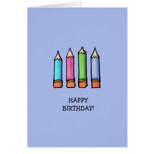 Colored Pencils lavender Birthday Card