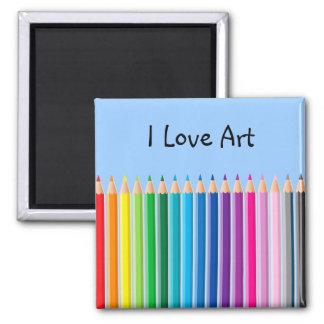 Colored Pencils Square Magnet