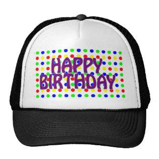Colored Polka Dots Happy Birthday Cap