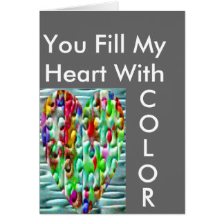 Colored Puzzled Hearts Greeting Card
