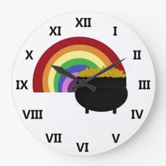 Colored Rainbow And Pot Of Gold Clock