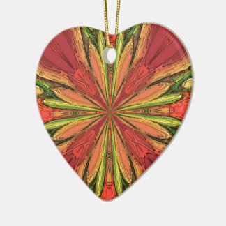 Colored Rays Ceramic Heart Decoration