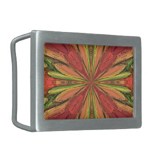 Colored Rays Rectangular Belt Buckle