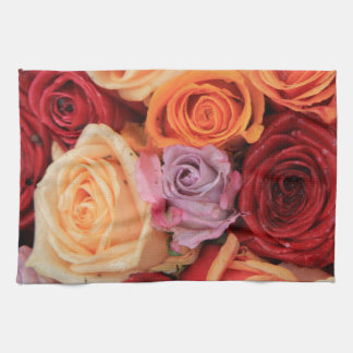 Colored roses by Therosegarden Tea Towel