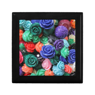colored roses stones small square gift box