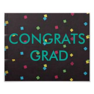 Colored Sq. Dots with Green Congrats Grad Photographic Print