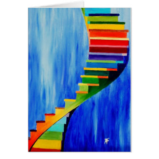 colored stairs - Greeting Card