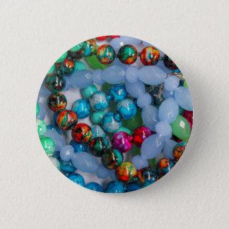 colored stones 6 cm round badge