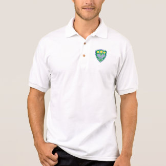 Colored tennis polo shirts with racket emblem