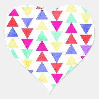 colored triangles heart sticker