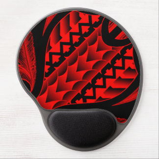 colored tribal maori tatau design with feathers gel mouse pad