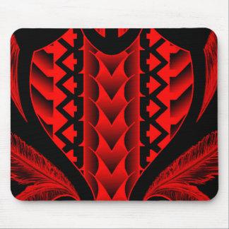 colored tribal maori tatau design with feathers mouse pad