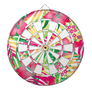 Colored tropical flowers dartboard