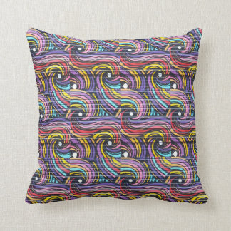 Colored Waves Pattern Pillow