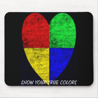Colored Woodgrain Block Heart Mouse Pad