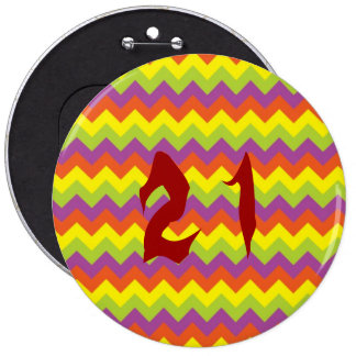 Colored zig zags 6 cm round badge