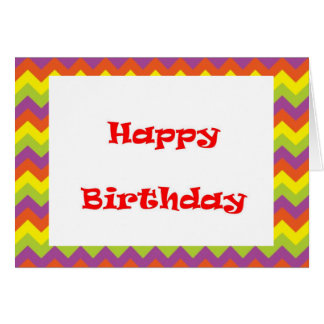Colored zig zags greeting card