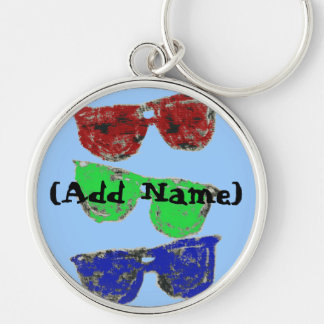 coloredsunglasses, (Add Name) Silver-Colored Round Key Ring