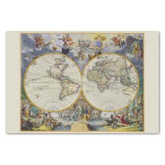 Colorfu Vintage Celestial Figures Old World Map Tissue Paper