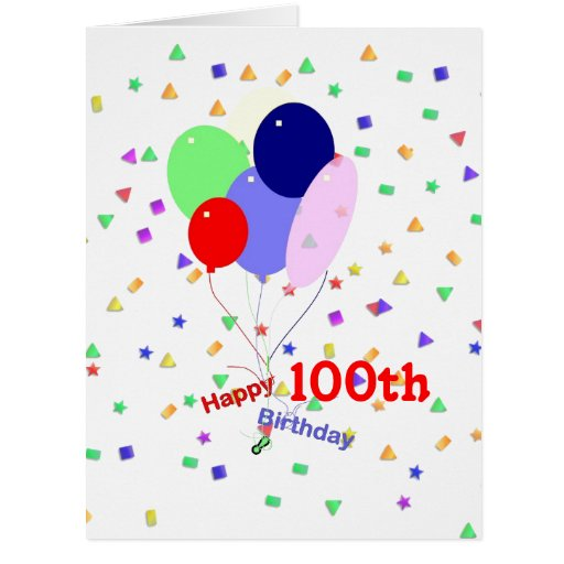 Colorful 100th Birthday Balloons Greeting Card