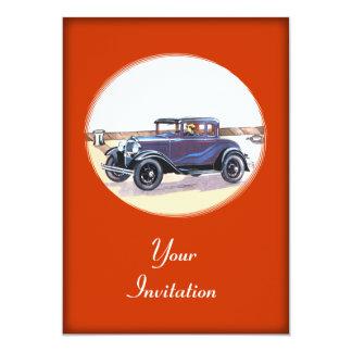 Colorful 1920s Vintage Automobile Party Event 13 Cm X 18 Cm Invitation Card