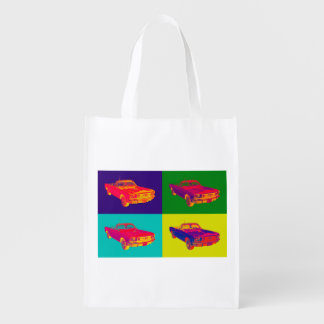 Colorful 1965 Ford Mustang Convertible Pop Art Grocery Bag