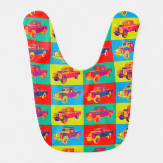 Colorful 1971 Land Rover Pickup Truck Pop Art Baby Bib