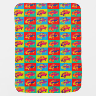 Colorful 1971 Land Rover Pickup Truck Pop Art Buggy Blankets