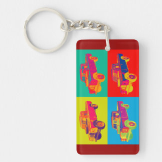 Colorful 1971 Land Rover Pickup Truck Pop Art Double-Sided Rectangular Acrylic Key Ring