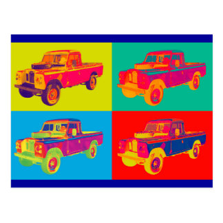 Colorful 1971 Land Rover Pickup Truck Pop Art Postcard
