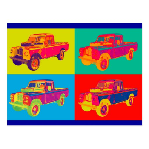 Colorful 1971 Land Rover Pickup Truck Pop Art Post Cards