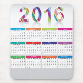 Colorful 2016 calendar mouse pad