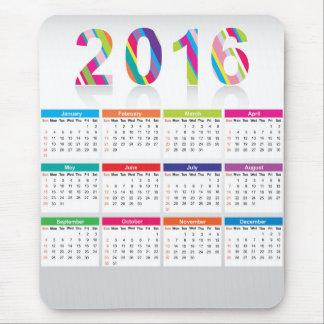 Colorful 2016 calendar mouse pad