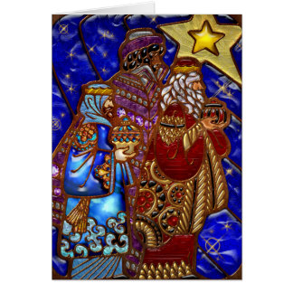 Colorful 3 Wise Men Jewel Effect Christmas Card
